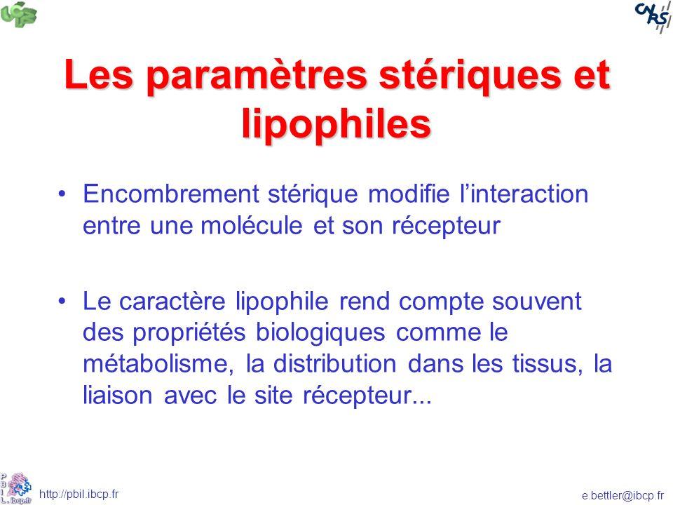 e.bettler@ibcp.fr http://pbil.ibcp.fr Les paramètres stériques et lipophiles Encombrement stérique modifie linteraction entre une molécule et son récepteur Le caractère lipophile rend compte souvent des propriétés biologiques comme le métabolisme, la distribution dans les tissus, la liaison avec le site récepteur...