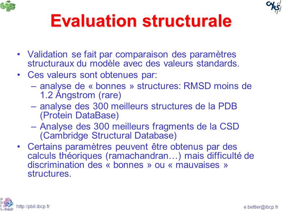 e.bettler@ibcp.fr http://pbil.ibcp.fr Evaluation structurale Validation se fait par comparaison des paramètres structuraux du modèle avec des valeurs standards.