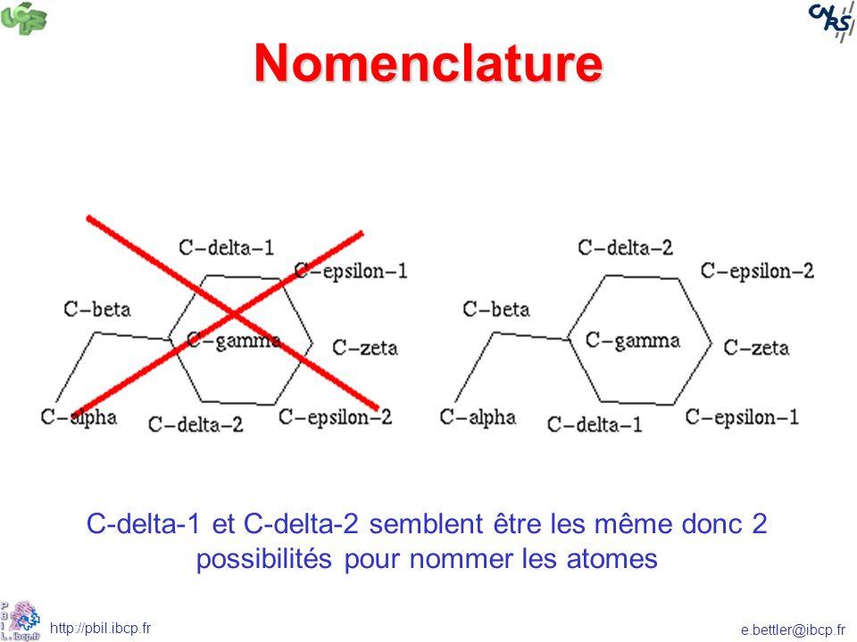 e.bettler@ibcp.fr http://pbil.ibcp.fr Nomenclature C-delta-1 et C-delta-2 semblent être les même donc 2 possibilités pour nommer les atomes