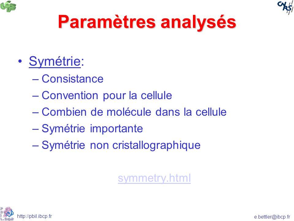 e.bettler@ibcp.fr http://pbil.ibcp.fr Paramètres analysés Symétrie: –Consistance –Convention pour la cellule –Combien de molécule dans la cellule –Symétrie importante –Symétrie non cristallographique symmetry.html