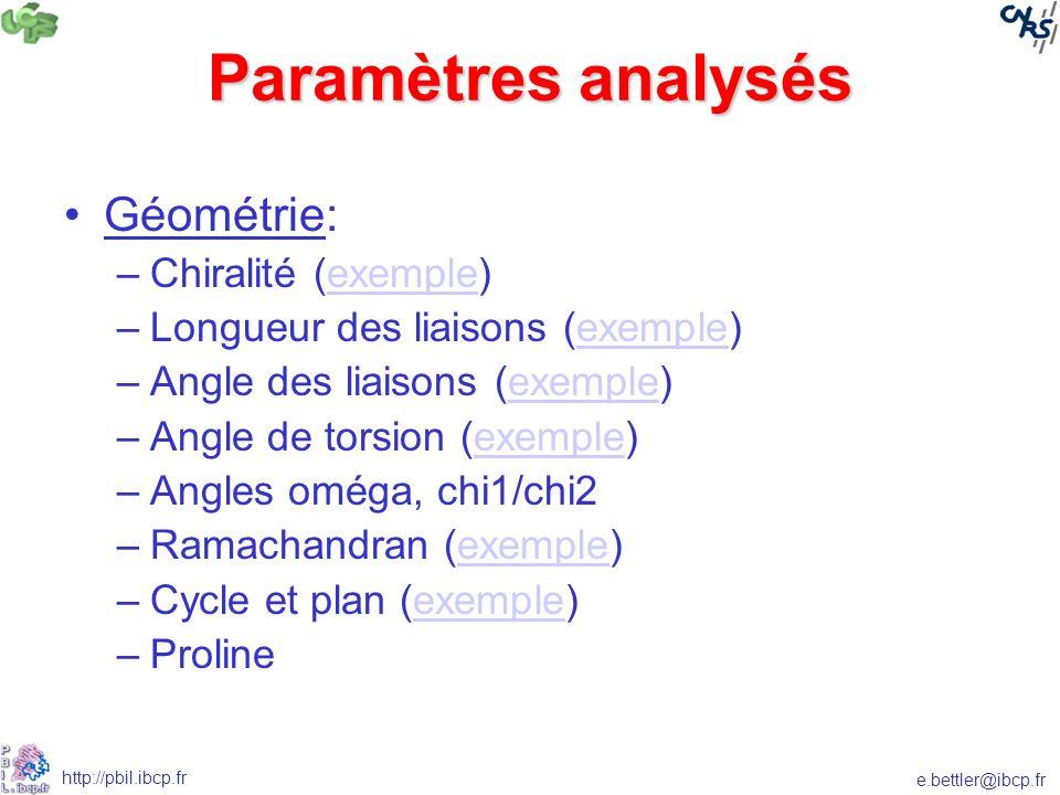 e.bettler@ibcp.fr http://pbil.ibcp.fr Paramètres analysés Géométrie: –Chiralité (exemple)exemple –Longueur des liaisons (exemple)exemple –Angle des liaisons (exemple)exemple –Angle de torsion (exemple)exemple –Angles oméga, chi1/chi2 –Ramachandran (exemple)exemple –Cycle et plan (exemple)exemple –Proline