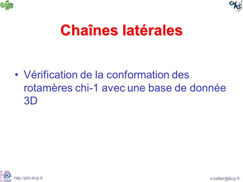 e.bettler@ibcp.fr http://pbil.ibcp.fr Chaînes latérales Vérification de la conformation des rotamères chi-1 avec une base de donnée 3D