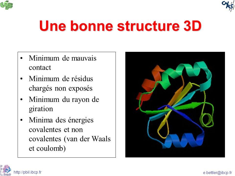 e.bettler@ibcp.fr http://pbil.ibcp.fr Une bonne structure 3D Minimum de mauvais contact Minimum de résidus chargés non exposés Minimum du rayon de giration Minima des énergies covalentes et non covalentes (van der Waals et coulomb)
