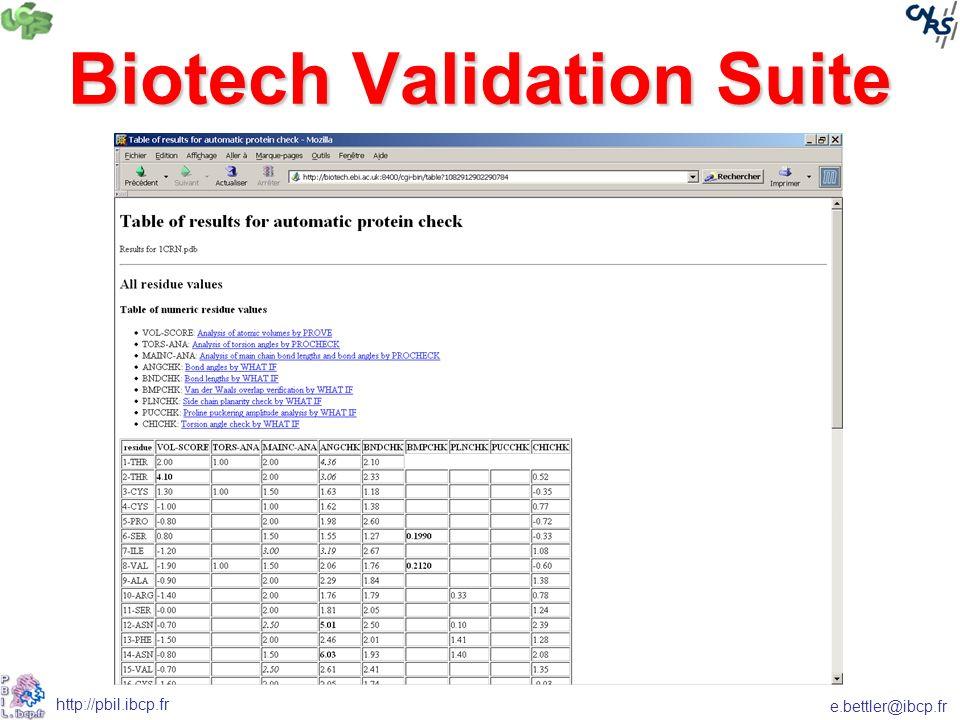 e.bettler@ibcp.fr http://pbil.ibcp.fr Biotech Validation Suite