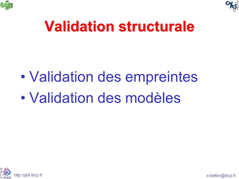 e.bettler@ibcp.fr http://pbil.ibcp.fr Validation structurale Validation des empreintes Validation des modèles
