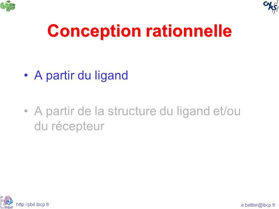e.bettler@ibcp.fr http://pbil.ibcp.fr Conception rationnelle A partir du ligand A partir de la structure du ligand et/ou du récepteur