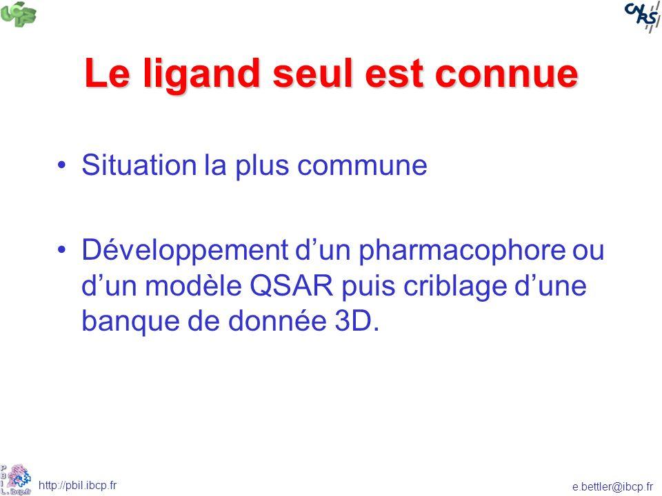 e.bettler@ibcp.fr http://pbil.ibcp.fr Le ligand seul est connue Situation la plus commune Développement dun pharmacophore ou dun modèle QSAR puis criblage dune banque de donnée 3D.