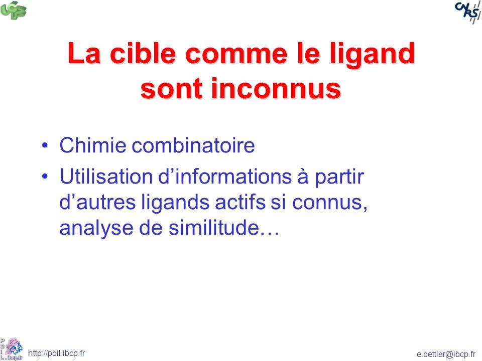 e.bettler@ibcp.fr http://pbil.ibcp.fr La cible comme le ligand sont inconnus Chimie combinatoire Utilisation dinformations à partir dautres ligands actifs si connus, analyse de similitude…