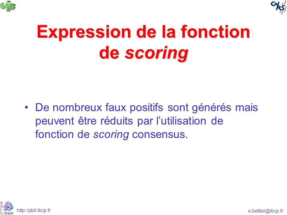 e.bettler@ibcp.fr http://pbil.ibcp.fr Expression de la fonction de scoring De nombreux faux positifs sont générés mais peuvent être réduits par lutilisation de fonction de scoring consensus.