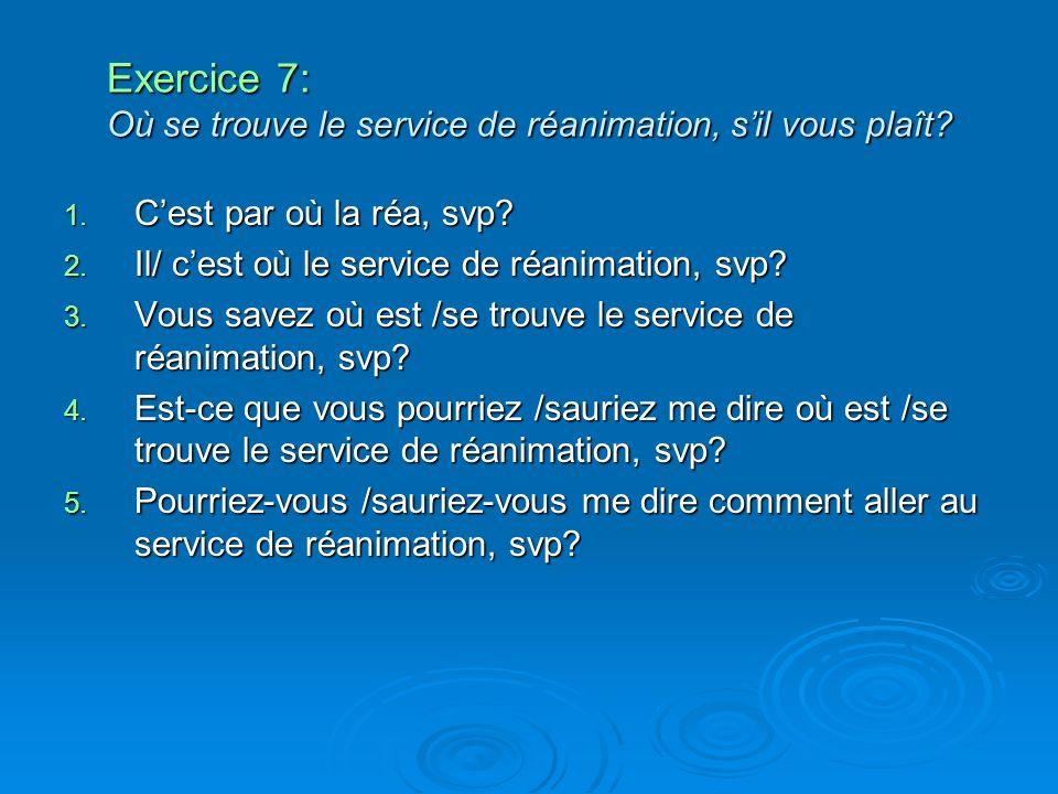 Exercice 7: Où se trouve le service de réanimation, sil vous plaît? 1. Cest par où la réa, svp? 2. Il/ cest où le service de réanimation, svp? 3. Vous