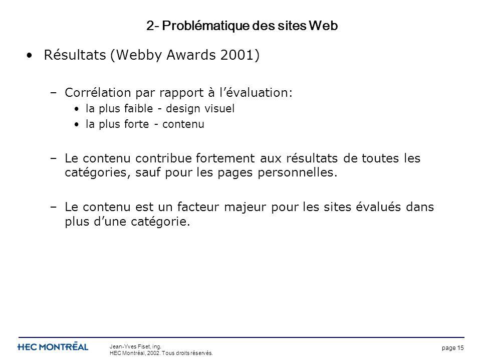 page 15 Jean-Yves Fiset, ing. HEC Montréal, 2002. Tous droits réservés. 2- Problématique des sites Web Résultats (Webby Awards 2001) –Corrélation par