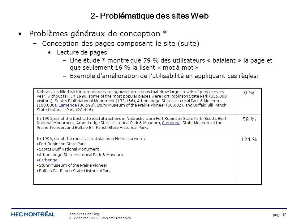 page 19 Jean-Yves Fiset, ing. HEC Montréal, 2002. Tous droits réservés. 2- Problématique des sites Web Problèmes généraux de conception * –Conception