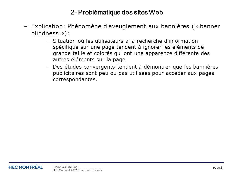 page 21 Jean-Yves Fiset, ing. HEC Montréal, 2002. Tous droits réservés. 2- Problématique des sites Web –Explication: Phénomène daveuglement aux banniè