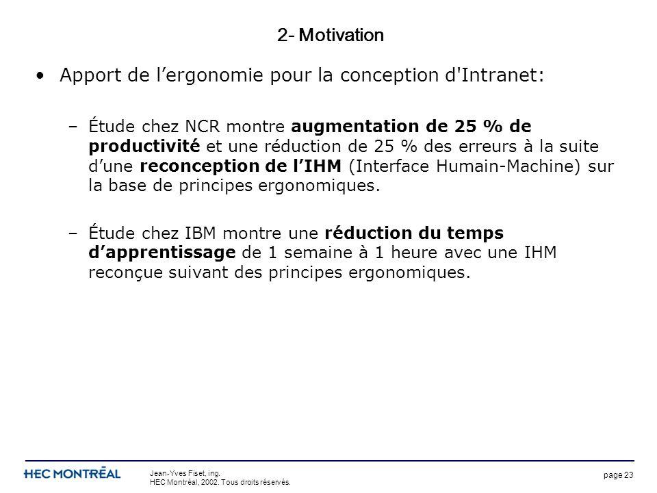 page 23 Jean-Yves Fiset, ing. HEC Montréal, 2002. Tous droits réservés. 2- Motivation Apport de lergonomie pour la conception d'Intranet: –Étude chez
