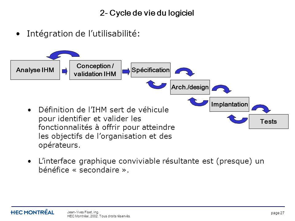 page 27 Jean-Yves Fiset, ing. HEC Montréal, 2002. Tous droits réservés. 2- Cycle de vie du logiciel Intégration de lutilisabilité: Spécification Arch.