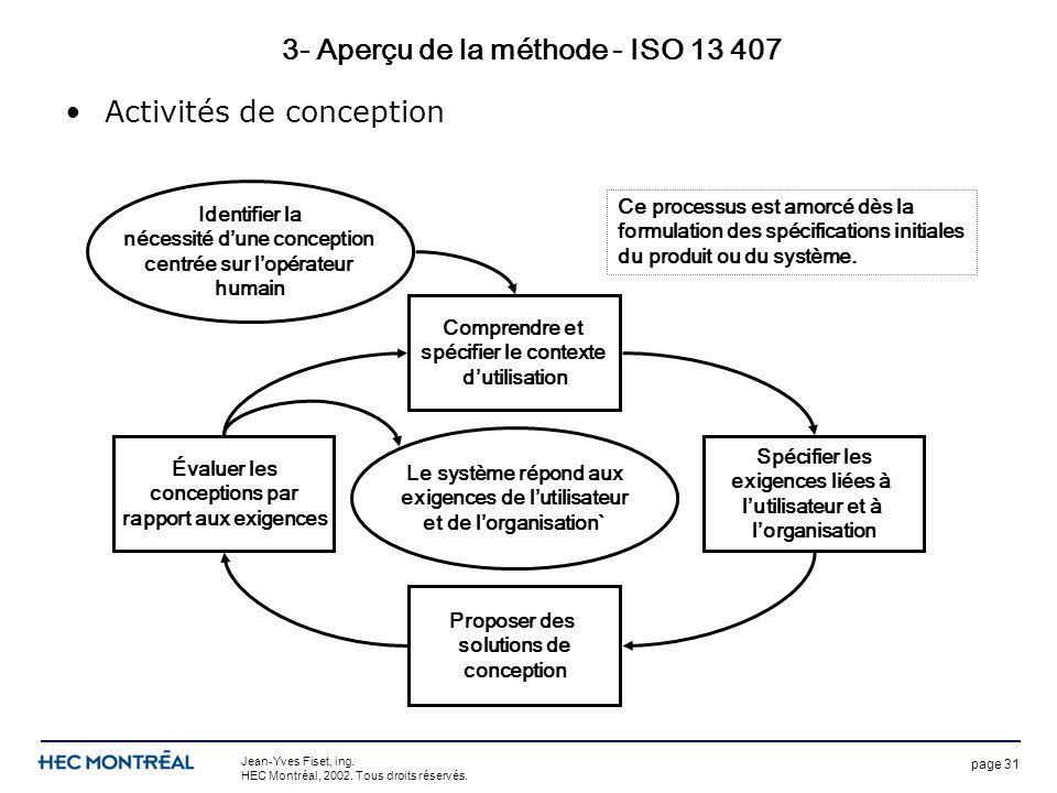 page 31 Jean-Yves Fiset, ing. HEC Montréal, 2002. Tous droits réservés. 3- Aperçu de la méthode - ISO 13 407 Activités de conception Identifier la néc