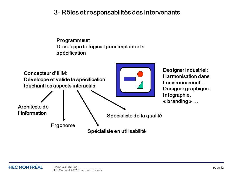 page 32 Jean-Yves Fiset, ing. HEC Montréal, 2002. Tous droits réservés. 3- Rôles et responsabilités des intervenants Programmeur: Développe le logicie