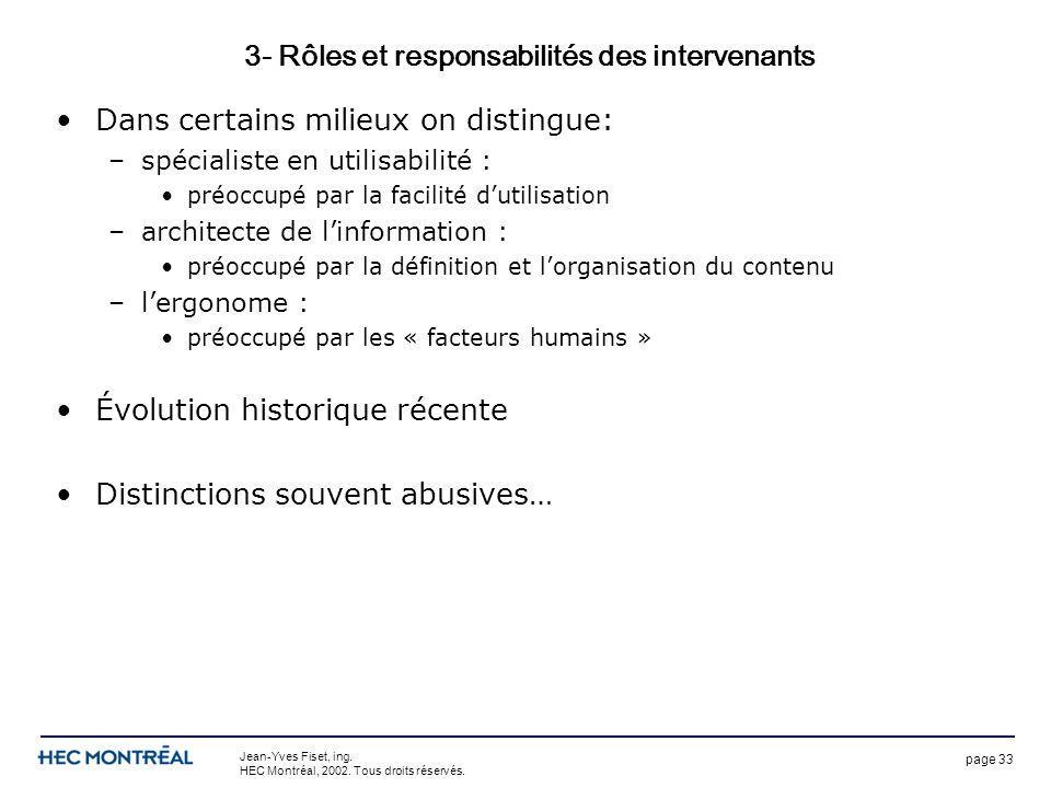 page 33 Jean-Yves Fiset, ing. HEC Montréal, 2002. Tous droits réservés. 3- Rôles et responsabilités des intervenants Dans certains milieux on distingu