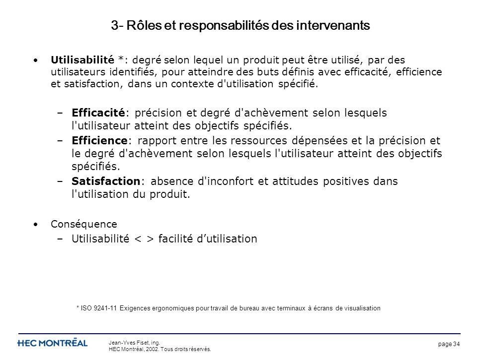 page 34 Jean-Yves Fiset, ing. HEC Montréal, 2002. Tous droits réservés. 3- Rôles et responsabilités des intervenants Utilisabilité *: degré selon lequ