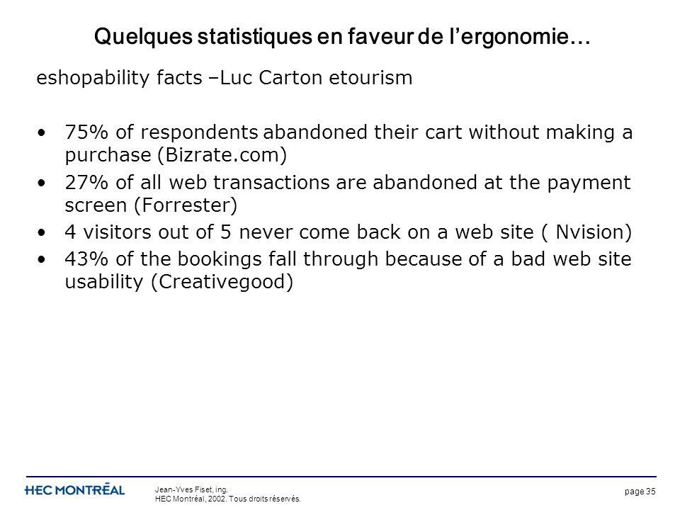 page 35 Jean-Yves Fiset, ing. HEC Montréal, 2002. Tous droits réservés. Quelques statistiques en faveur de lergonomie… eshopability facts –Luc Carton
