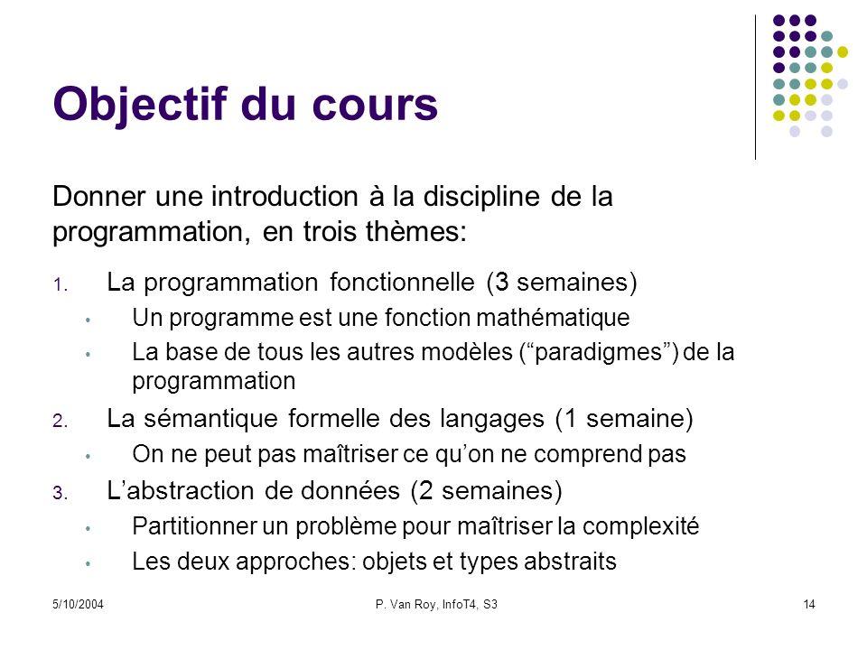 5/10/2004P. Van Roy, InfoT4, S314 Objectif du cours 1. La programmation fonctionnelle (3 semaines) Un programme est une fonction mathématique La base