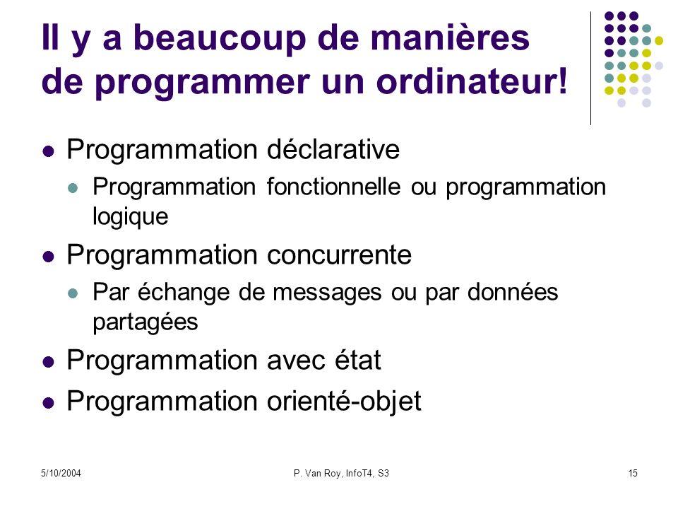 5/10/2004P. Van Roy, InfoT4, S315 Il y a beaucoup de manières de programmer un ordinateur! Programmation déclarative Programmation fonctionnelle ou pr