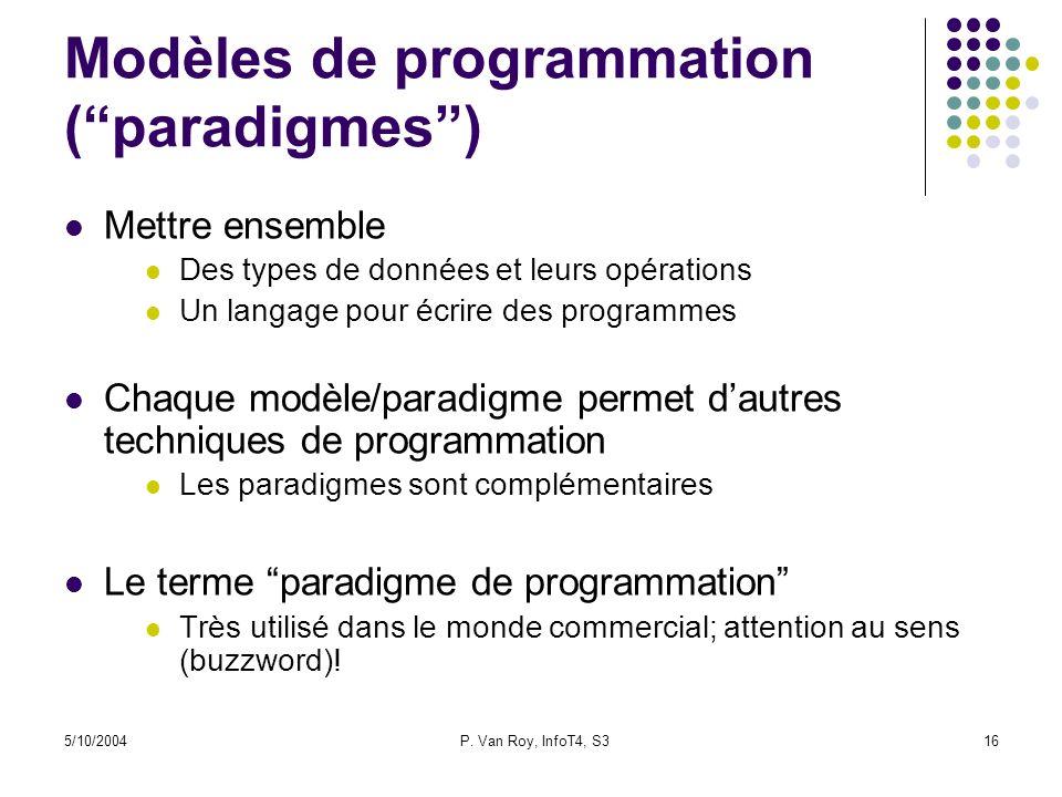 5/10/2004P. Van Roy, InfoT4, S316 Modèles de programmation (paradigmes) Mettre ensemble Des types de données et leurs opérations Un langage pour écrir