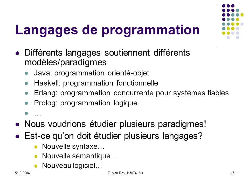 5/10/2004P. Van Roy, InfoT4, S317 Langages de programmation Différents langages soutiennent différents modèles/paradigmes Java: programmation orienté-