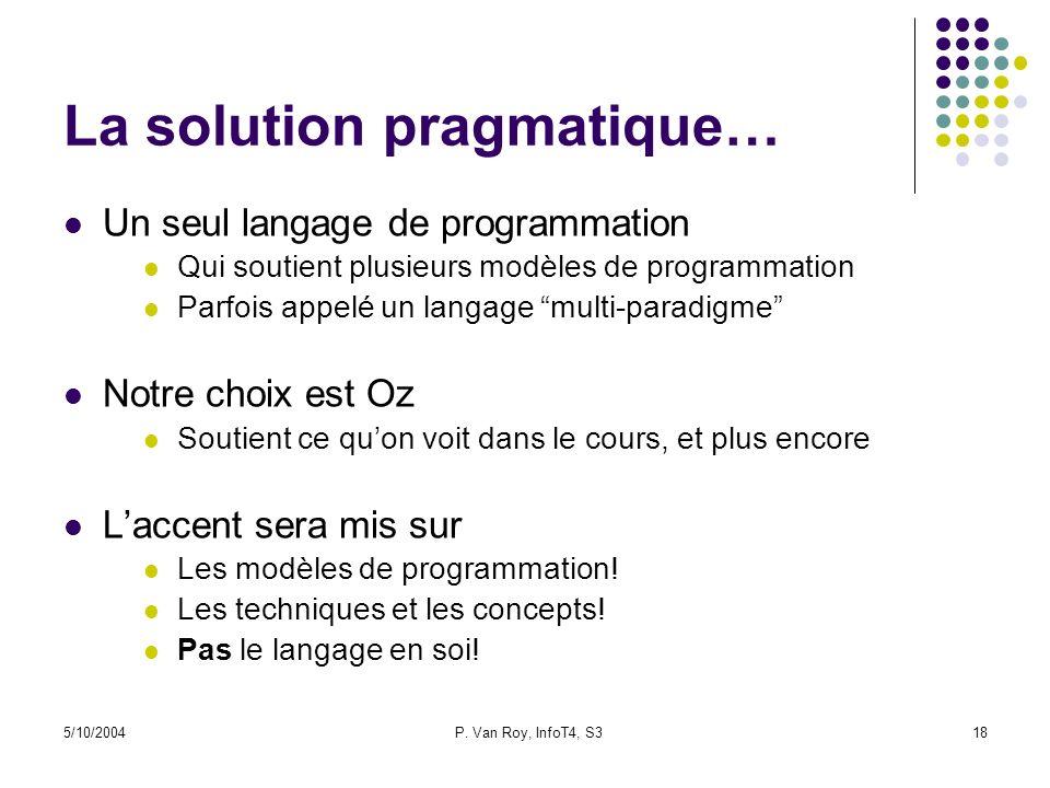 5/10/2004P. Van Roy, InfoT4, S318 La solution pragmatique… Un seul langage de programmation Qui soutient plusieurs modèles de programmation Parfois ap