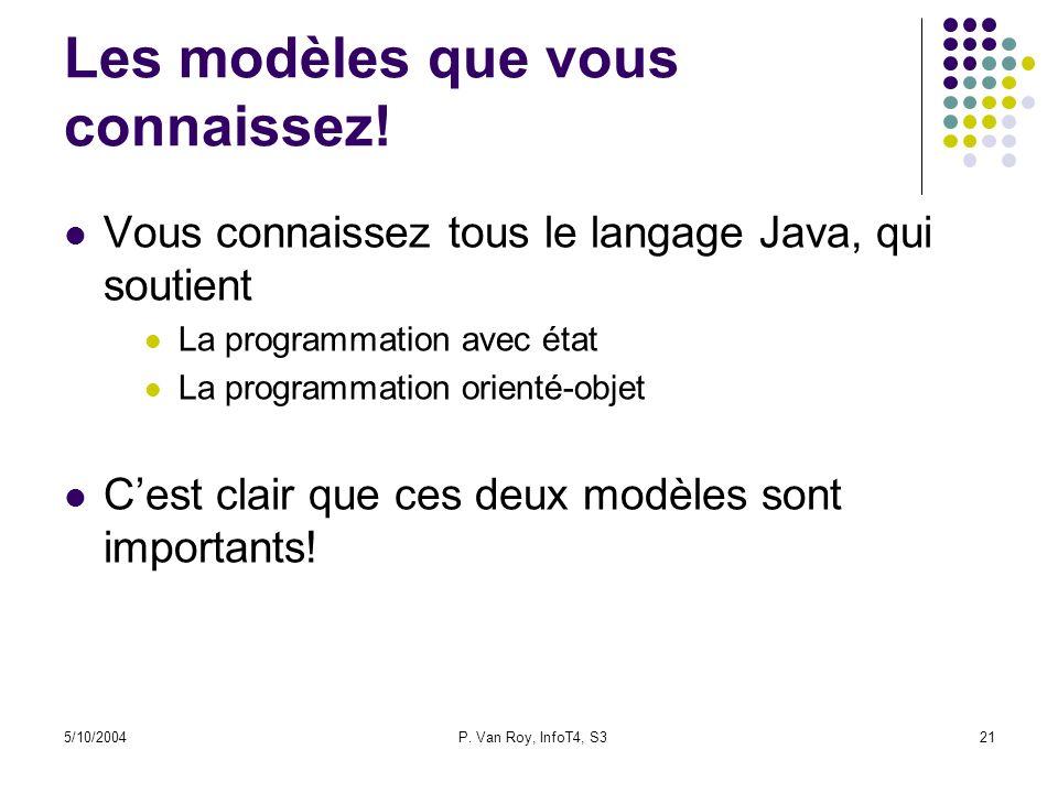 5/10/2004P. Van Roy, InfoT4, S321 Les modèles que vous connaissez! Vous connaissez tous le langage Java, qui soutient La programmation avec état La pr
