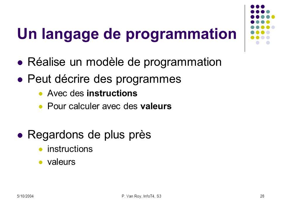 5/10/2004P. Van Roy, InfoT4, S328 Un langage de programmation Réalise un modèle de programmation Peut décrire des programmes Avec des instructions Pou