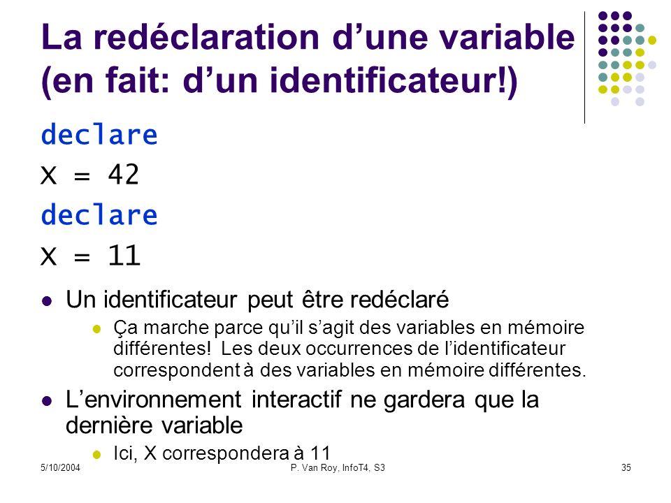 5/10/2004P. Van Roy, InfoT4, S335 La redéclaration dune variable (en fait: dun identificateur!) Un identificateur peut être redéclaré Ça marche parce