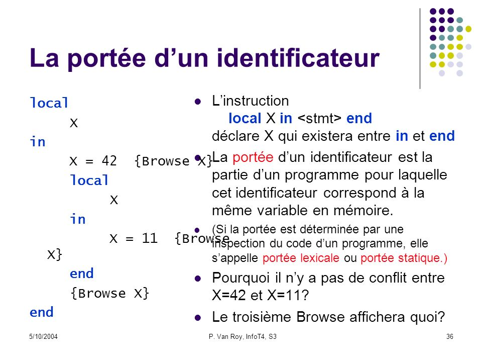 5/10/2004P. Van Roy, InfoT4, S336 La portée dun identificateur Linstruction local X in end déclare X qui existera entre in et end La portée dun identi