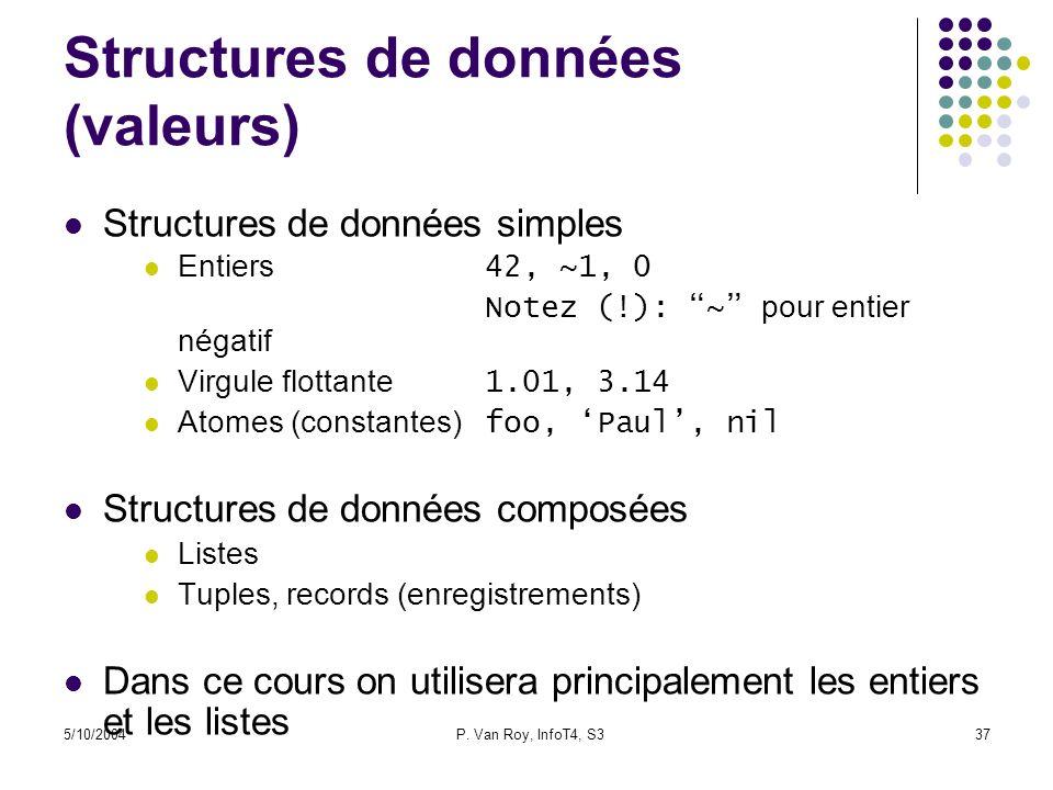 5/10/2004P. Van Roy, InfoT4, S337 Structures de données (valeurs) Structures de données simples Entiers 42, ~1, 0 Notez (!): ~ pour entier négatif Vir