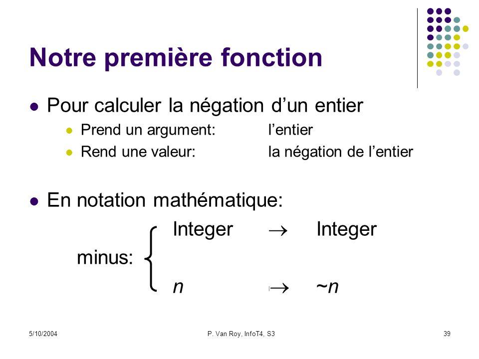 5/10/2004P. Van Roy, InfoT4, S339 Notre première fonction Pour calculer la négation dun entier Prend un argument:lentier Rend une valeur:la négation d