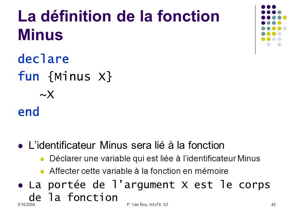 5/10/2004P. Van Roy, InfoT4, S340 La définition de la fonction Minus Lidentificateur Minus sera lié à la fonction Déclarer une variable qui est liée à
