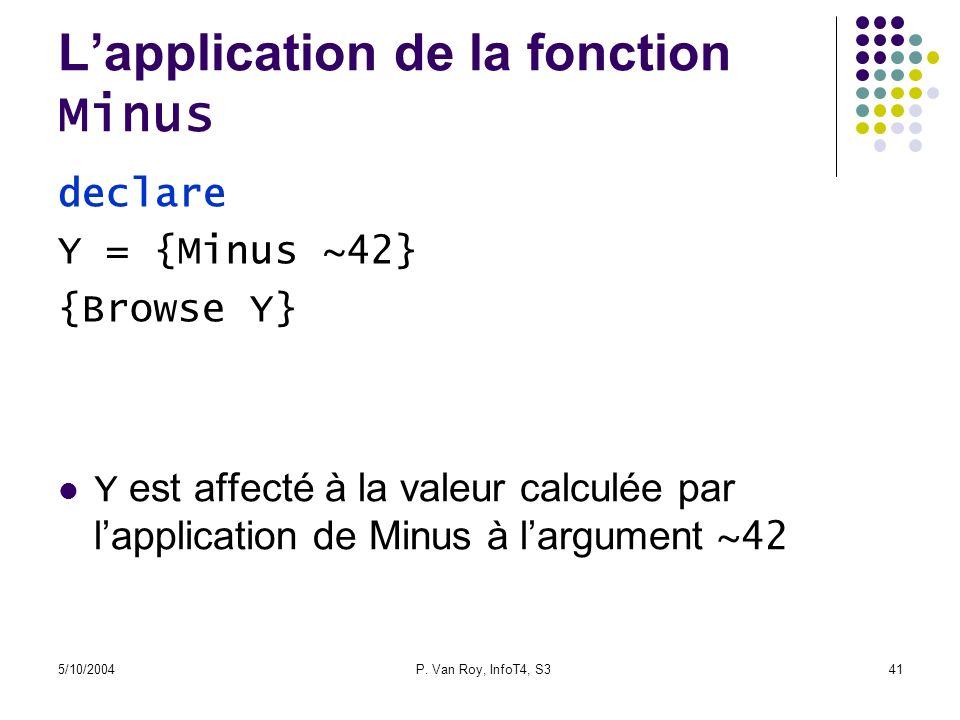 5/10/2004P. Van Roy, InfoT4, S341 Lapplication de la fonction Minus Y est affecté à la valeur calculée par lapplication de Minus à largument ~42 decla