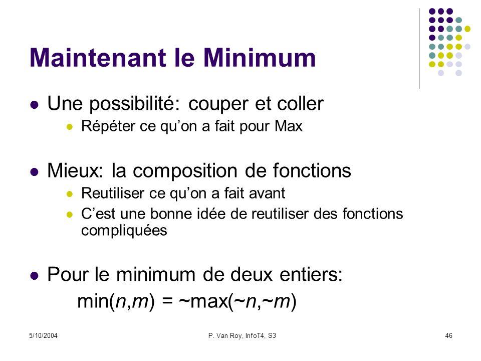 5/10/2004P. Van Roy, InfoT4, S346 Maintenant le Minimum Une possibilité: couper et coller Répéter ce quon a fait pour Max Mieux: la composition de fon