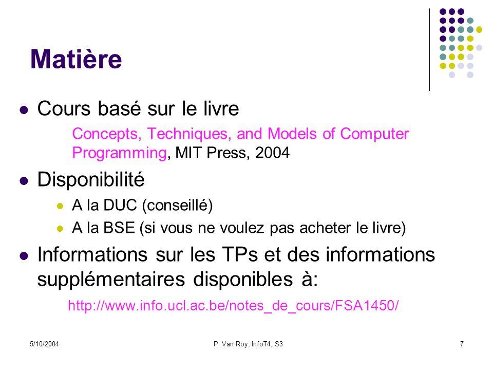 5/10/2004P. Van Roy, InfoT4, S37 Matière Cours basé sur le livre Concepts, Techniques, and Models of Computer Programming, MIT Press, 2004 Disponibili