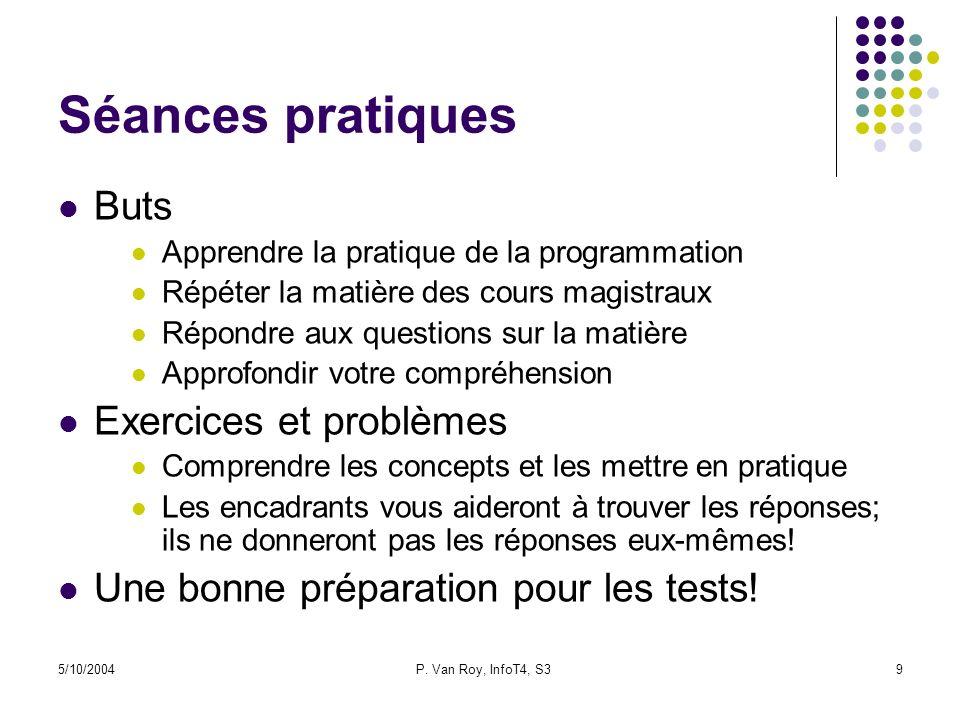 5/10/2004P. Van Roy, InfoT4, S39 Séances pratiques Buts Apprendre la pratique de la programmation Répéter la matière des cours magistraux Répondre aux