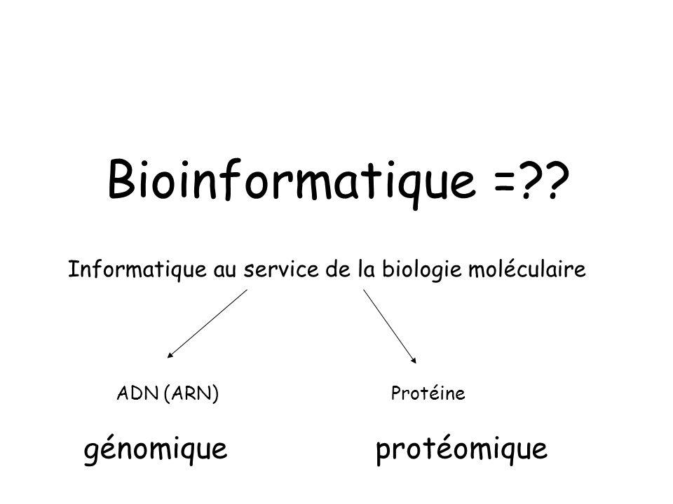 Bioinformatique =?? Informatique au service de la biologie moléculaire ADN (ARN)Protéine génomiqueprotéomique