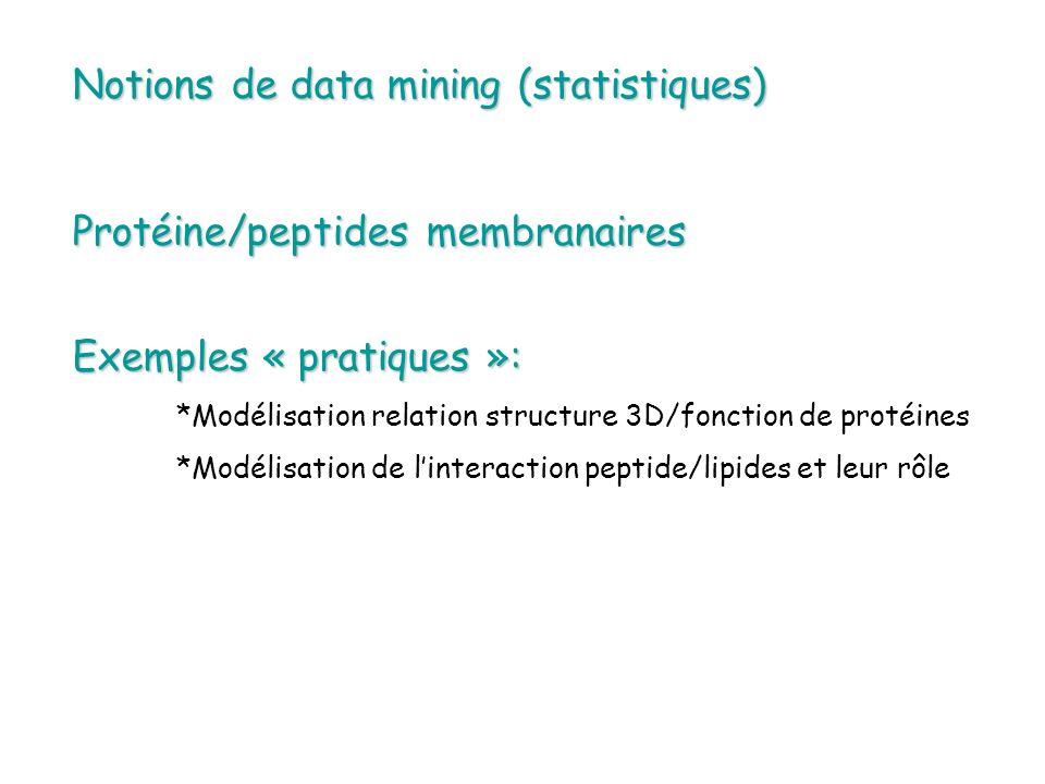 Notions de data mining (statistiques) Protéine/peptides membranaires Exemples « pratiques »: *Modélisation relation structure 3D/fonction de protéines