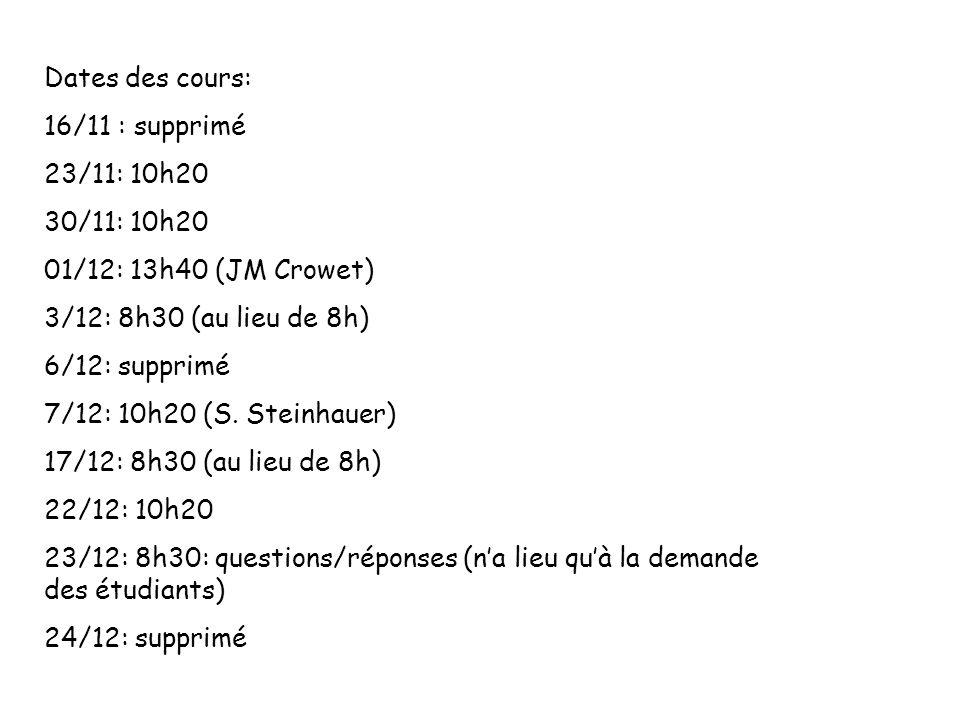 Dates des cours: 16/11 : supprimé 23/11: 10h20 30/11: 10h20 01/12: 13h40 (JM Crowet) 3/12: 8h30 (au lieu de 8h) 6/12: supprimé 7/12: 10h20 (S. Steinha