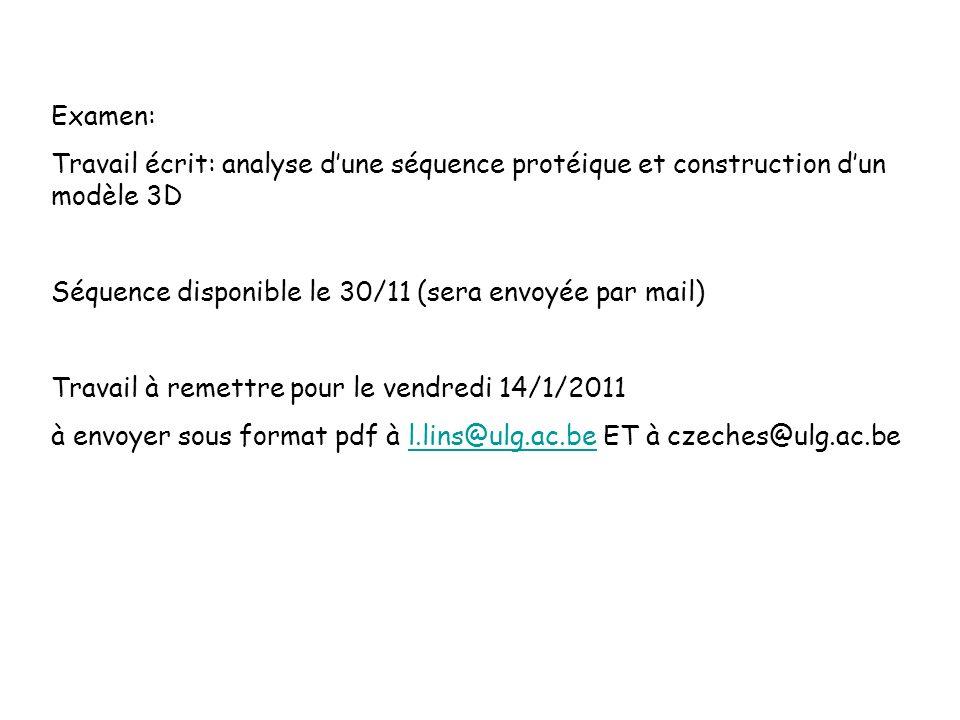 Examen: Travail écrit: analyse dune séquence protéique et construction dun modèle 3D Séquence disponible le 30/11 (sera envoyée par mail) Travail à re