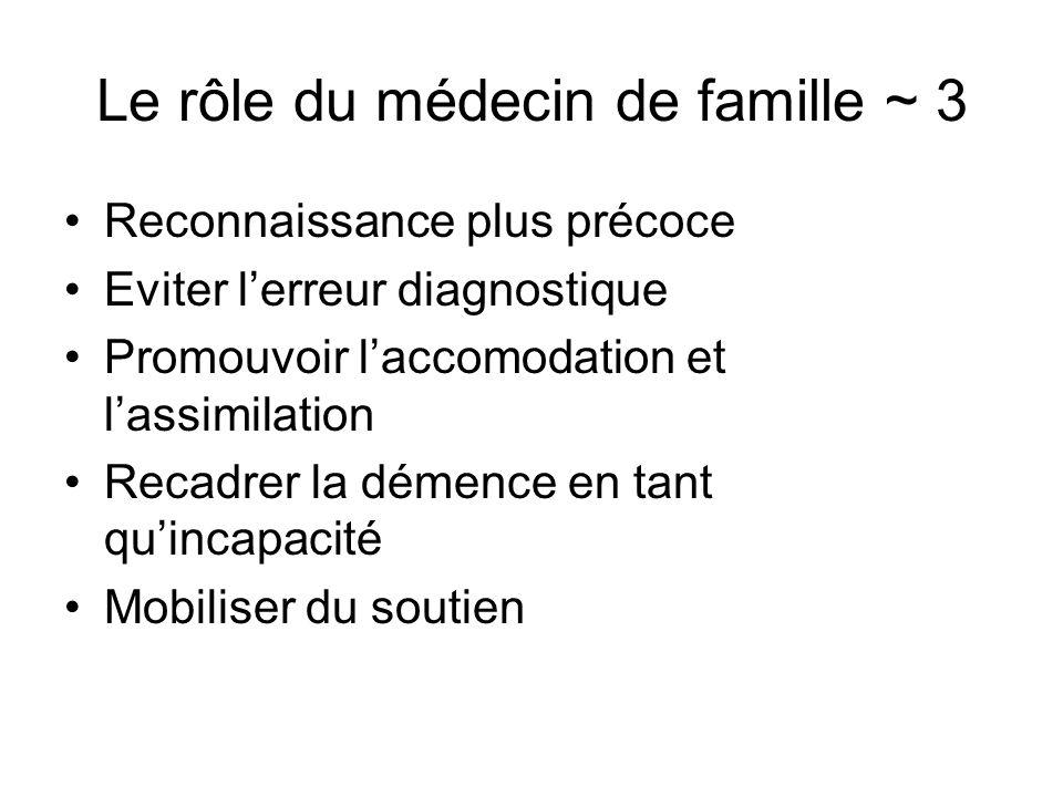 Le rôle du médecin de famille ~ 3 Reconnaissance plus précoce Eviter lerreur diagnostique Promouvoir laccomodation et lassimilation Recadrer la démenc