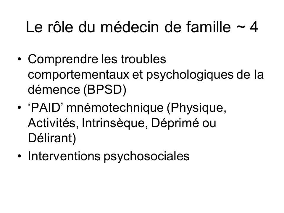 Le rôle du médecin de famille ~ 4 Comprendre les troubles comportementaux et psychologiques de la démence (BPSD) PAID mnémotechnique (Physique, Activi