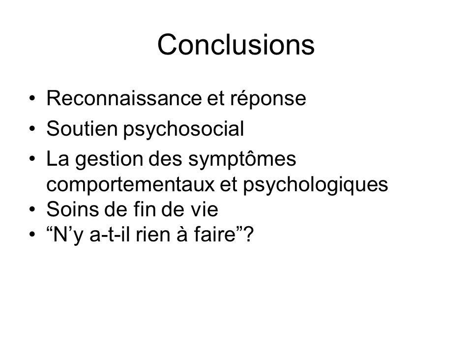 Conclusions Reconnaissance et réponse Soutien psychosocial La gestion des symptômes comportementaux et psychologiques Soins de fin de vie Ny a-t-il ri
