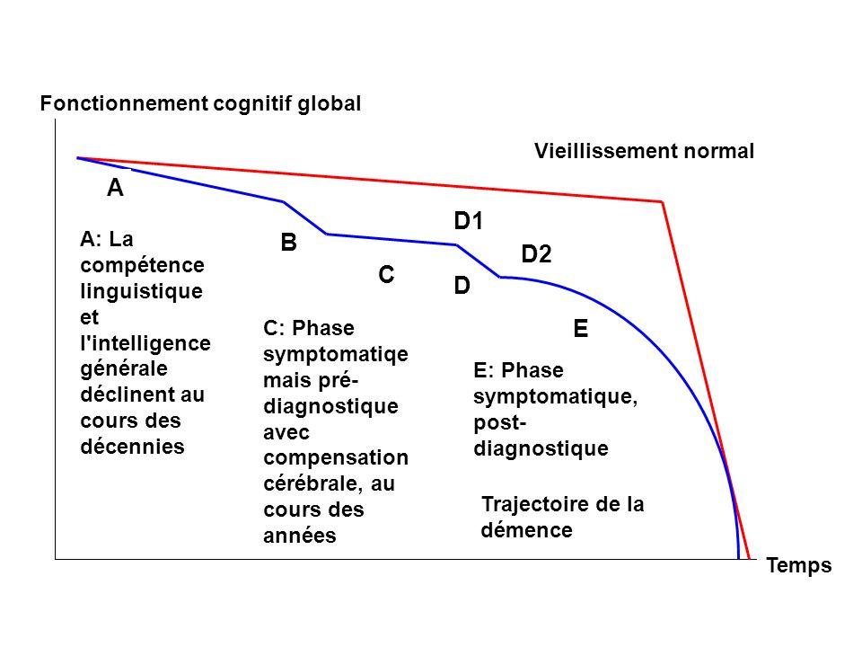 Fonctionnement cognitif global Temps Vieillissement normal A: La compétence linguistique et l'intelligence générale déclinent au cours des décennies A