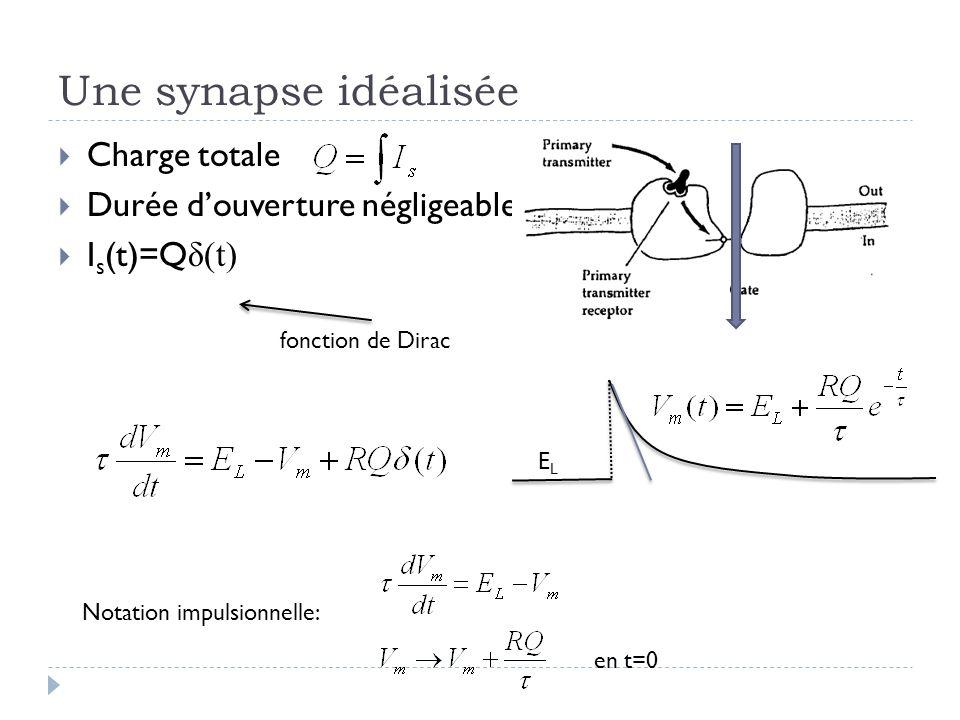 Une synapse idéalisée Charge totale Durée douverture négligeable I s (t)=Q δ(t) fonction de Dirac ELEL Notation impulsionnelle: en t=0