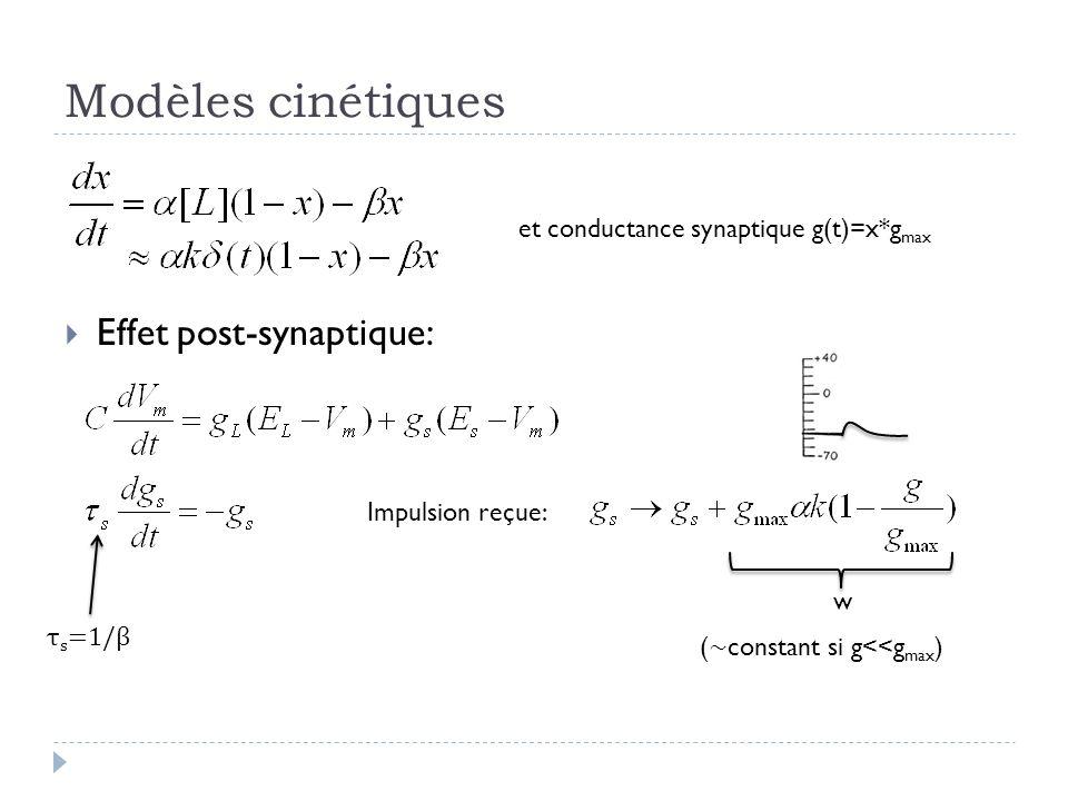 Modèles cinétiques Effet post-synaptique: et conductance synaptique g(t)=x*g max τ s =1/β Impulsion reçue: w ( ~ constant si g<<g max )